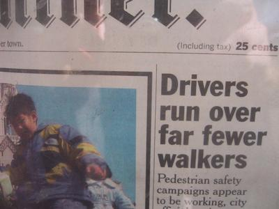 [drivers run over fewer walkers]