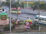[Inflatable pandas outside Panda Hotel]