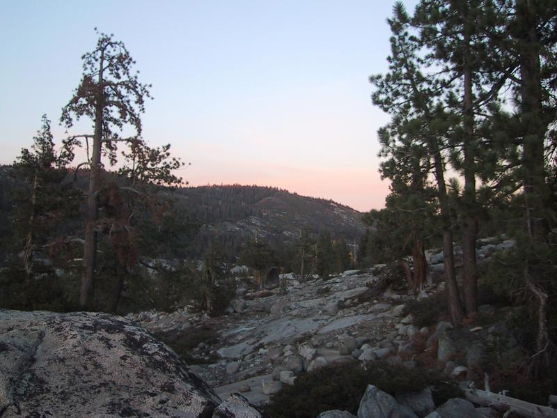 [Sunset over rocks and trees]