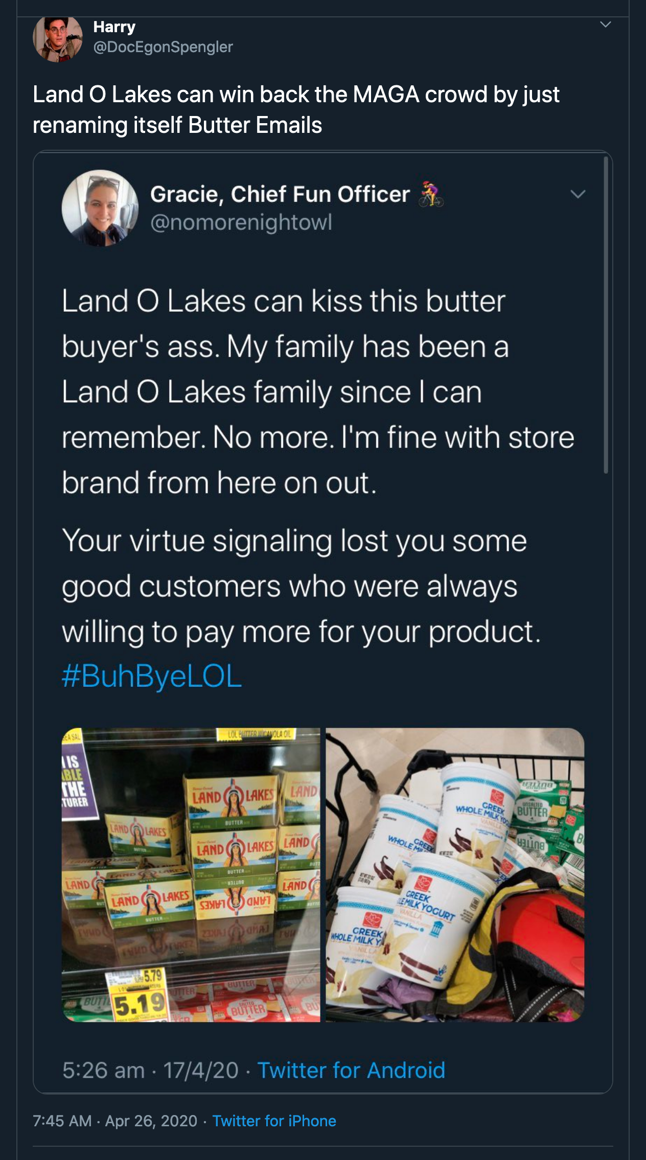 Land O Lakes can win back the MAGA crowd by just renaming itself Butter Emails