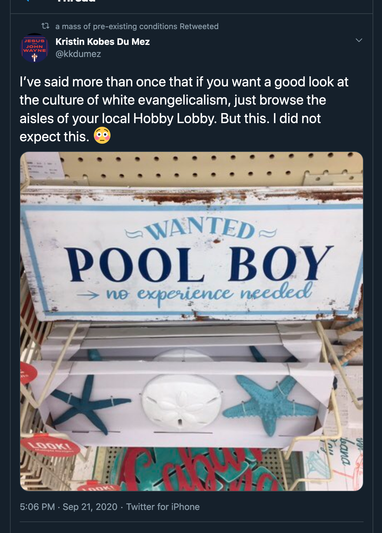 Retweet Kristin Kobes Du Mez @kkdumez: I've said more than once that if you want a good look at the culture of white evangelicalism, just browse the aisles of your local Hobby Lobby. But this. I did not expect this. With image of sign saying 'Wanted: Pool Boy, no experience necessary'