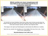 [Image demonstrating visibility differences between cyclist on the right side of the lane and in the middle.]